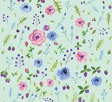 Watercolor flowers on mint by sevenroses