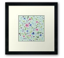 Watercolor flowers on mint Framed Print