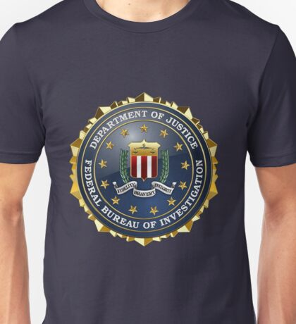 Federal Bureau of Investigation - FBI Emblem 3D on Blue Velvet Unisex T-Shirt