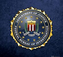 Federal Bureau of Investigation - FBI Emblem 3D on Blue Velvet by Serge Averbukh