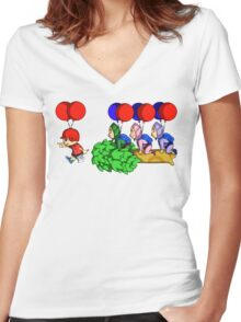 Balloon Fight: Villager Style Women's Fitted V-Neck T-Shirt