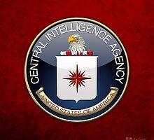 Central Intelligence Agency - CIA Emblem 3D on Red Velvet by Serge Averbukh