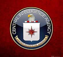 Central Intelligence Agency - CIA Emblem 3D on Red Velvet by Serge Averbukh