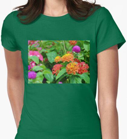 Globe Amaranth and Lantana Womens Fitted T-Shirt