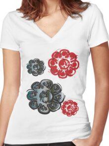 floral t-shirt design Women's Fitted V-Neck T-Shirt