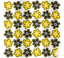 Bold Modern Floral Pattern   Yellow  And Black Poster