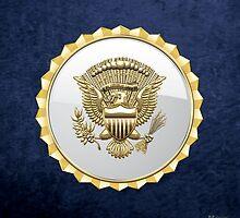 Vice Presidential Service Badge 3D on Blue Velvet by Serge Averbukh