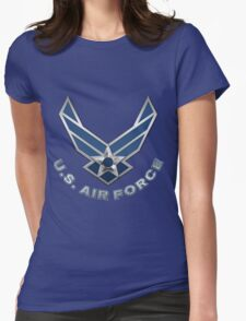 U.S. Air Force - USAF Logo 3D on Blue Velvet Womens Fitted T-Shirt
