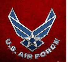 U.S. Air Force - USAF Logo 3D on Red Velvet by Serge Averbukh