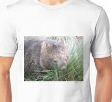 Wombat in a tussle with a tussock, Cradle Mountain, Tasmania, Australia. Unisex T-Shirt