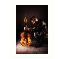 Burning guitar Art Print