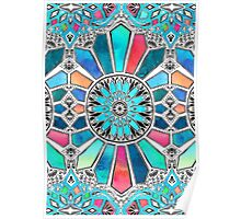 Iridescent Watercolor Brights on White Poster