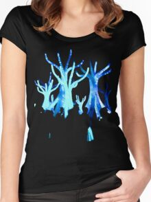 Blue Tree Lights Silhouette Women's Fitted Scoop T-Shirt