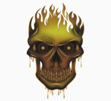 Flame Skull - Gold Kids Clothes