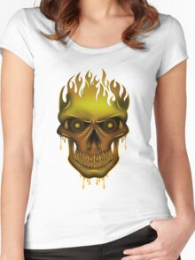 Flame Skull - Gold Women's Fitted Scoop T-Shirt
