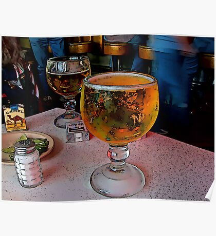 Fred's Texas Cafe's Schooner Of Ice Cold Beer Poster