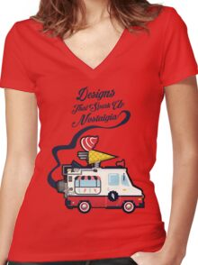 Nuance Retro: Ice Cream Truck Time Machine   Women's Fitted V-Neck T-Shirt