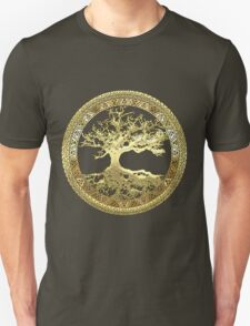 Celtic Tree of Life, Yggdrasil  [Gold] Unisex T-Shirt