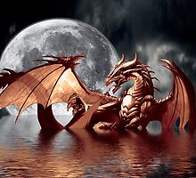 Dragon Moon Fantasy Art Design by NaturePrints