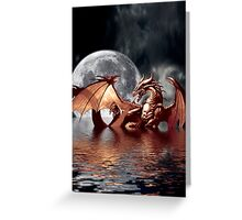 Dragon Moon Fantasy Art Design Greeting Card