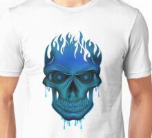 Flame Skull - Blue Unisex T-Shirt