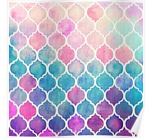 Rainbow Pastel Watercolor Moroccan Pattern Poster
