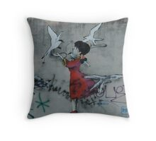 Manga Girl Street Art Throw Pillow