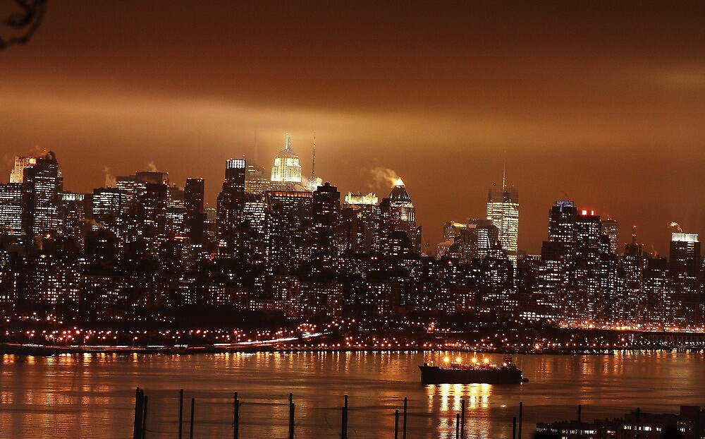 City lights on the Hudson by pivotalimage