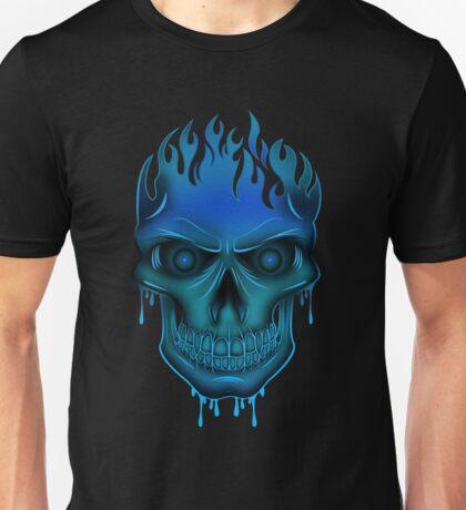 Flame Skull - Blue (2) Unisex T-Shirt