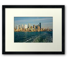 Seattle Skyline from Ferry Boat Framed Print