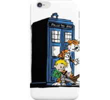 calvin and hobbes police box in action iPhone Case/Skin