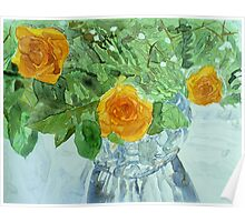 Vase: Yellow roses Poster
