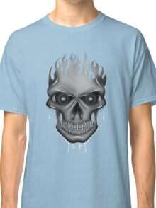 Flame Skull - Silver (2) Classic T-Shirt