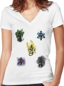 Many faces of Ninjas. Women's Fitted V-Neck T-Shirt