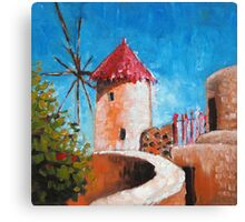 "red roof • oil painting • 6""x 6"" Canvas Print"