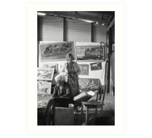 Artist Selby Warren & Wife in his gallery, Abercrombie Caves, NSW.  Art Print