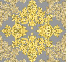 Golden Folk - doodle pattern in yellow & grey by micklyn