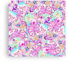 Psychedelic bright abstract girly floral pattern Canvas Print