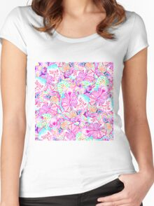 Psychedelic bright abstract girly floral pattern Women's Fitted Scoop T-Shirt