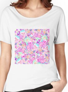 Psychedelic bright abstract girly floral pattern Women's Relaxed Fit T-Shirt