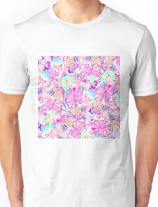 Psychedelic bright abstract girly floral pattern Unisex T-Shirt