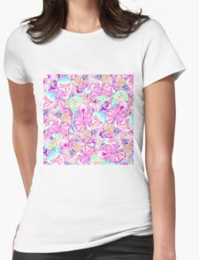 Psychedelic bright abstract girly floral pattern Womens Fitted T-Shirt
