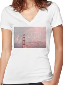 Stardust Covering San Francisco Women's Fitted V-Neck T-Shirt