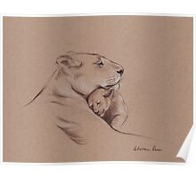 """A Mother's Pride"" Lioness and cub original pencil drawing. Poster"
