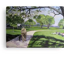 2 Seniors in the Park - Oil Canvas Print