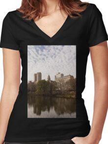 Central Park Glamorous Apartment Buildings - Manhattan, Upper West Side Women's Fitted V-Neck T-Shirt