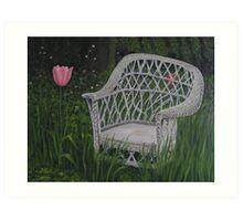 Oil - Old Wicker Chair Art Print