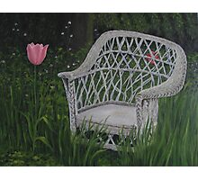Oil - Old Wicker Chair Photographic Print