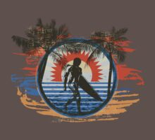 Surfing - Summer Sun and Palm Trees and Paint Brushes Kids Clothes