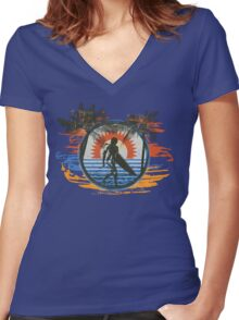 Surfing - Summer Sun and Palm Trees and Paint Brushes Women's Fitted V-Neck T-Shirt